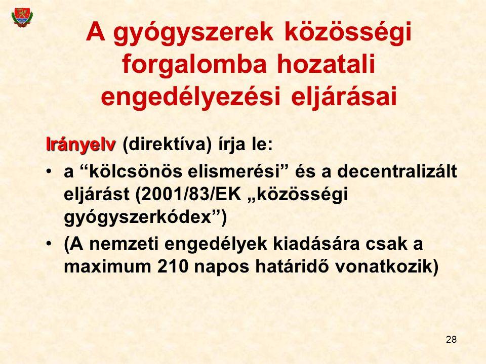 """28 A gyógyszerek közösségi forgalomba hozatali engedélyezési eljárásai Irányelv Irányelv (direktíva) írja le: a """"kölcsönös elismerési"""" és a decentrali"""