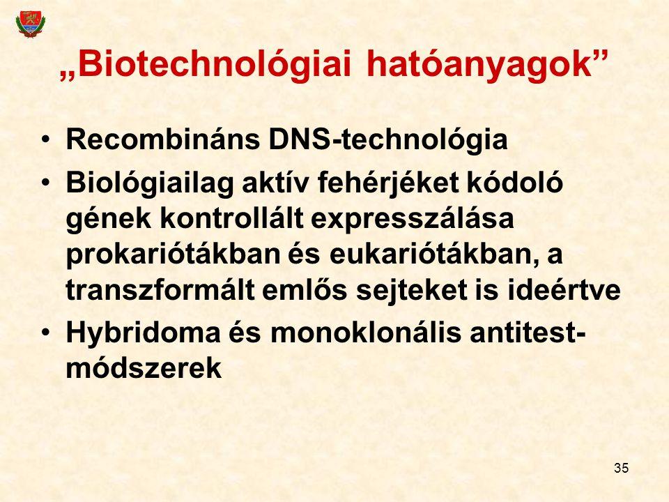 """35 """"Biotechnológiai hatóanyagok"""" Recombináns DNS-technológia Biológiailag aktív fehérjéket kódoló gének kontrollált expresszálása prokariótákban és eu"""