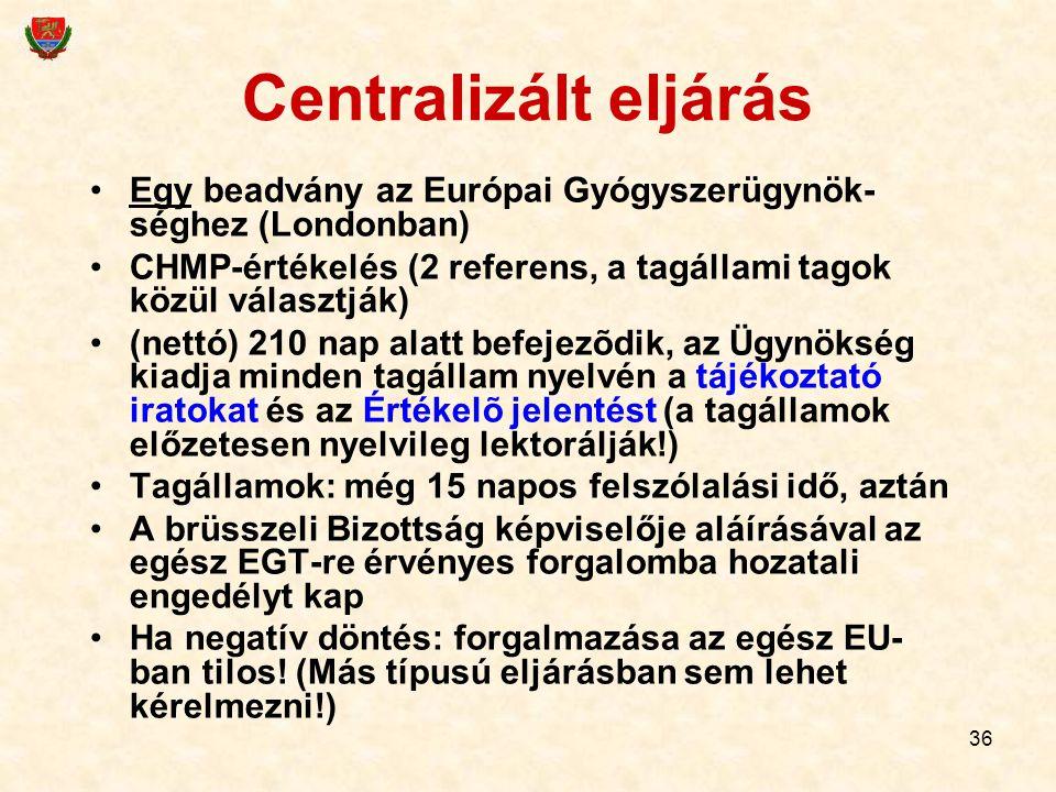 36 Centralizált eljárás Egy beadvány az Európai Gyógyszerügynök- séghez (Londonban) CHMP-értékelés (2 referens, a tagállami tagok közül választják) (n