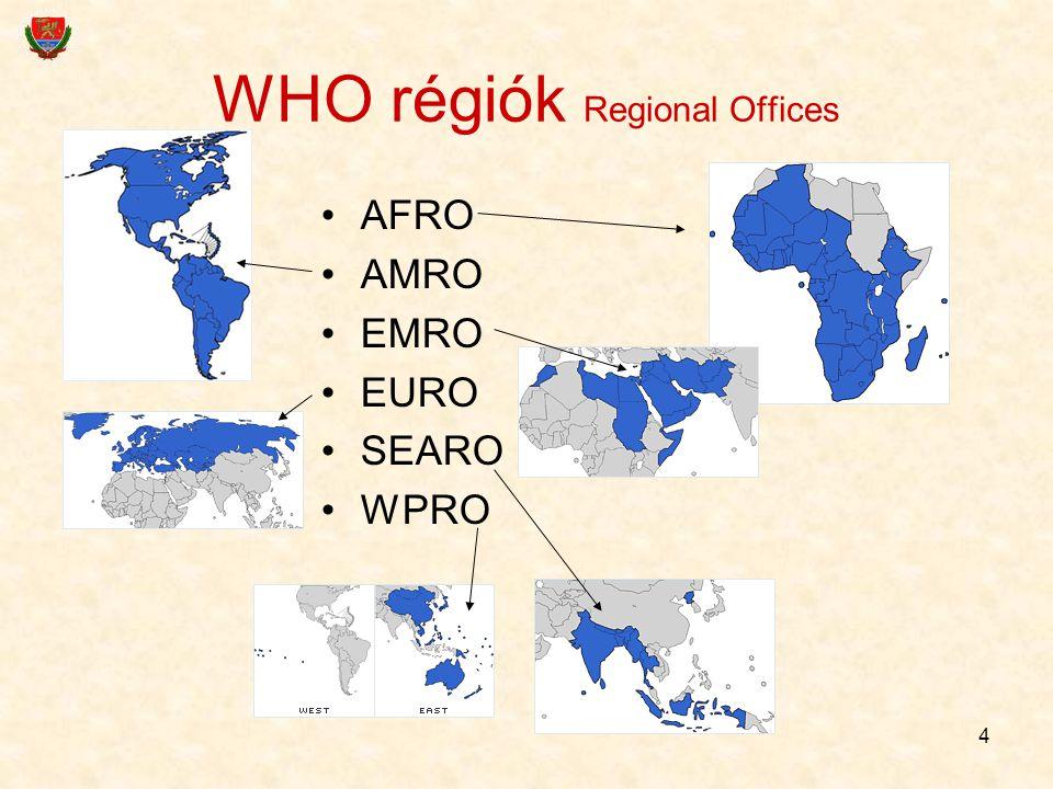 4 WHO régiók Regional Offices AFRO AMRO EMRO EURO SEARO WPRO