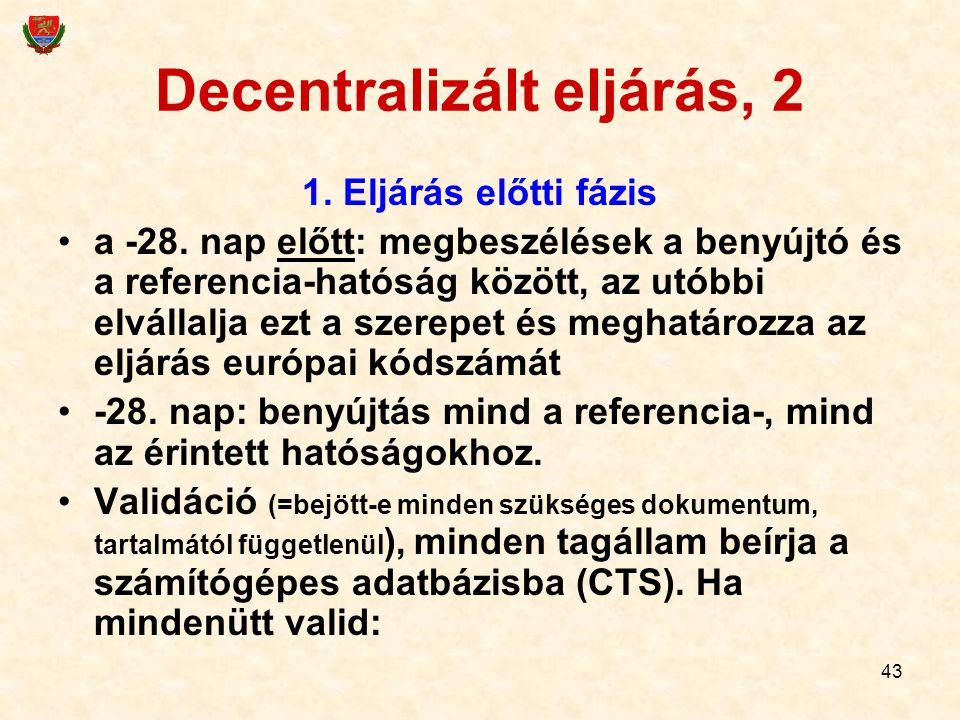 43 Decentralizált eljárás, 2 1. Eljárás előtti fázis a -28. nap előtt: megbeszélések a benyújtó és a referencia-hatóság között, az utóbbi elvállalja e