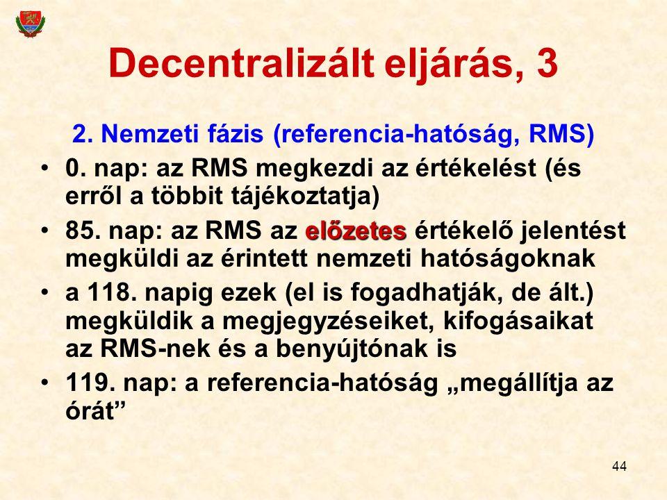 44 Decentralizált eljárás, 3 2. Nemzeti fázis (referencia-hatóság, RMS) 0. nap: az RMS megkezdi az értékelést (és erről a többit tájékoztatja) előzete