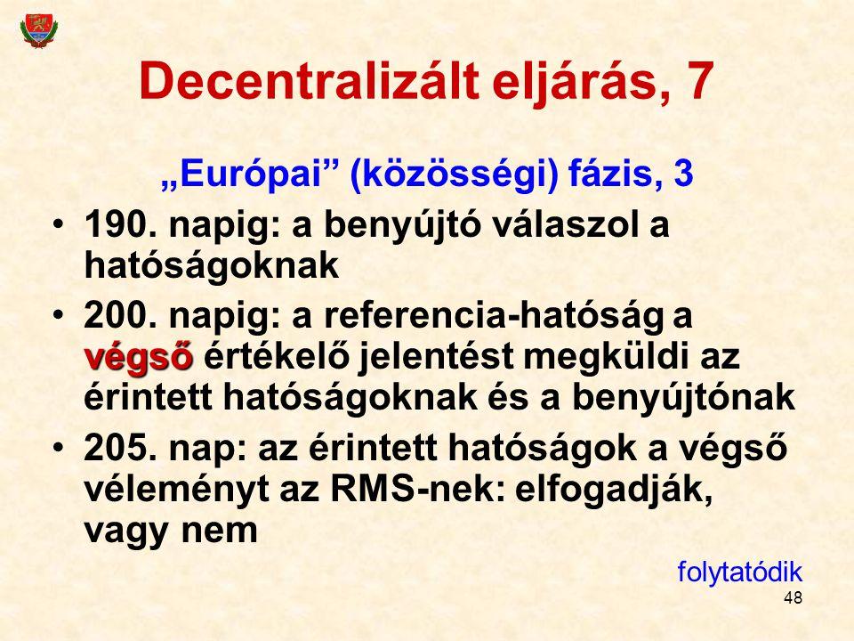 """48 Decentralizált eljárás, 7 """"Európai"""" (közösségi) fázis, 3 190. napig: a benyújtó válaszol a hatóságoknak végső200. napig: a referencia-hatóság a vég"""