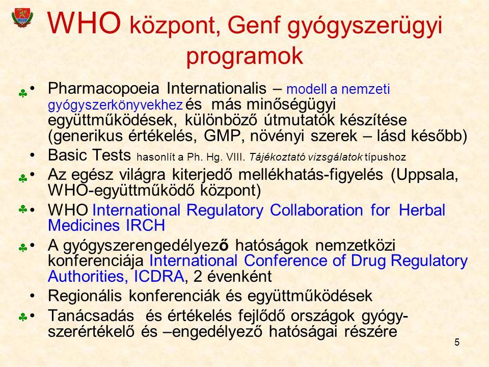 5 WHO központ, Genf gyógyszerügyi programok Pharmacopoeia Internationalis – modell a nemzeti gyógyszerkönyvekhez és más minőségügyi együttműködések, k
