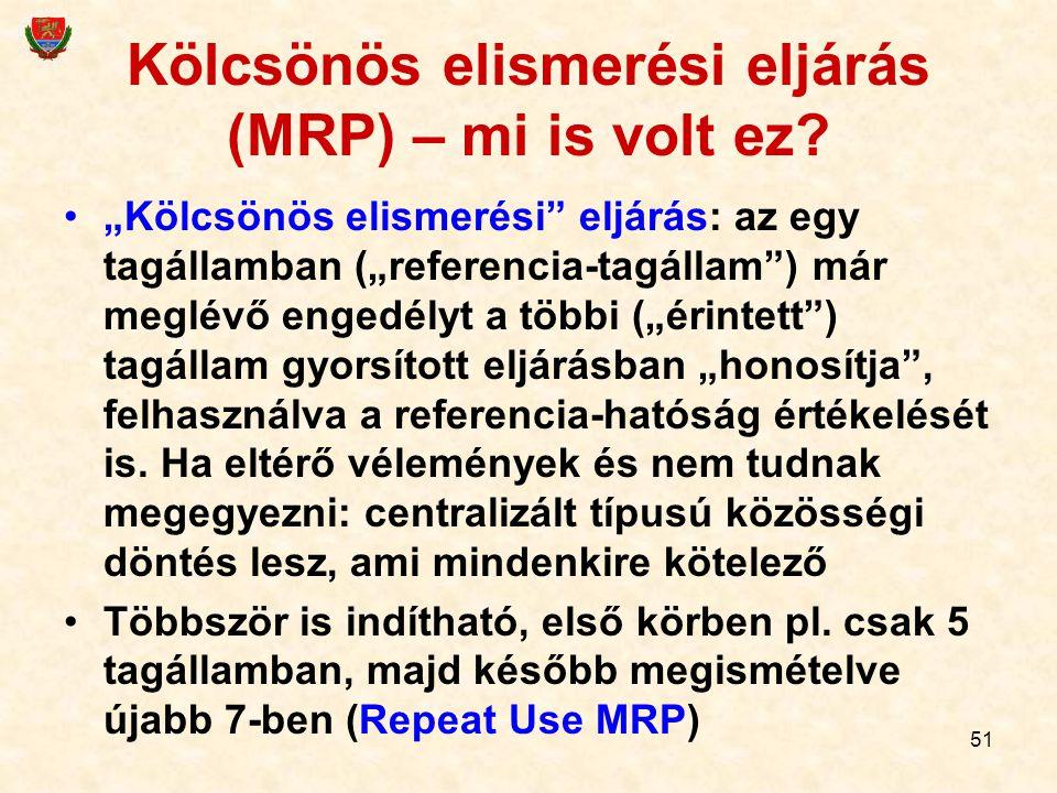"""51 Kölcsönös elismerési eljárás (MRP) – mi is volt ez? """"Kölcsönös elismerési"""" eljárás: az egy tagállamban (""""referencia-tagállam"""") már meglévő engedély"""