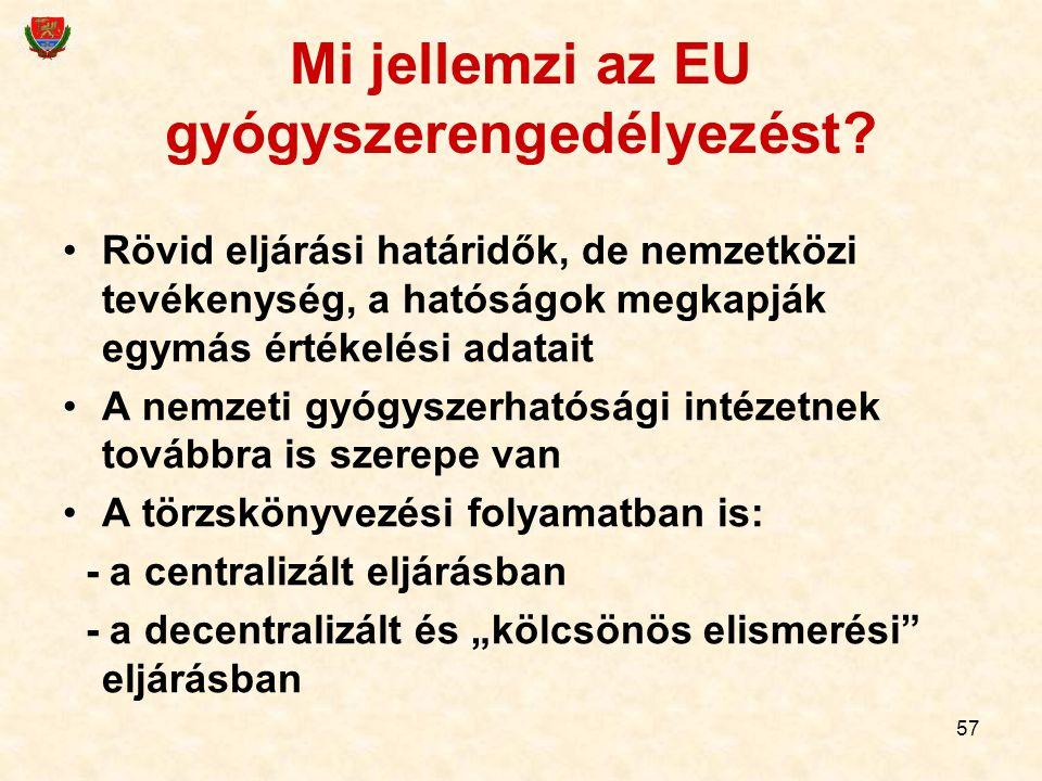 57 Mi jellemzi az EU gyógyszerengedélyezést? Rövid eljárási határidők, de nemzetközi tevékenység, a hatóságok megkapják egymás értékelési adatait A ne