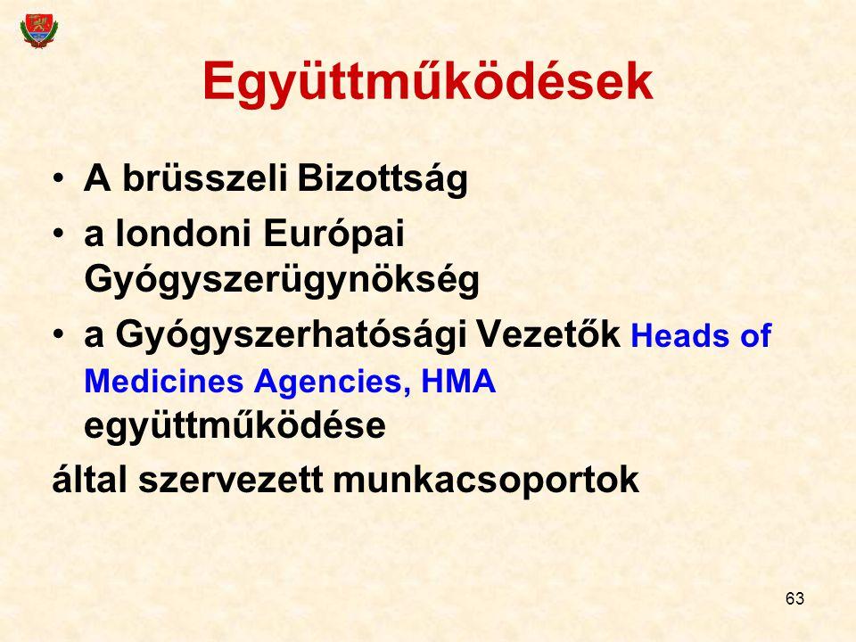63 Együttműködések A brüsszeli Bizottság a londoni Európai Gyógyszerügynökség a Gyógyszerhatósági Vezetők Heads of Medicines Agencies, HMA együttműköd