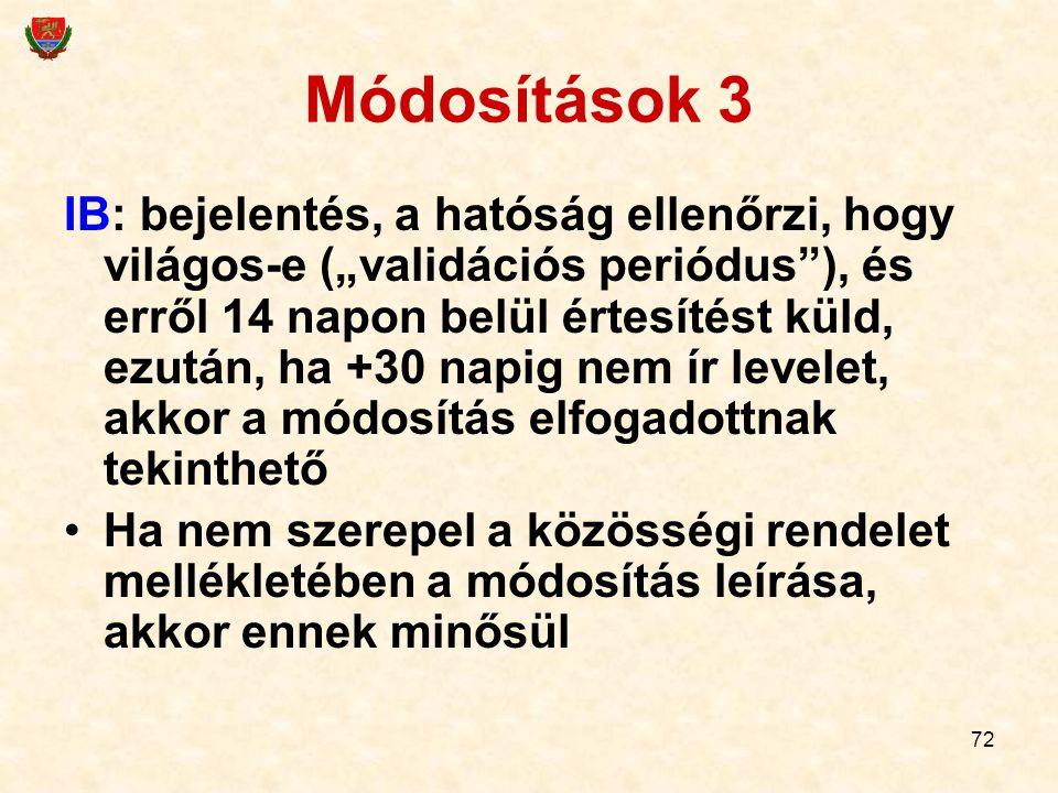 """72 Módosítások 3 IB: bejelentés, a hatóság ellenőrzi, hogy világos-e (""""validációs periódus""""), és erről 14 napon belül értesítést küld, ezután, ha +30"""