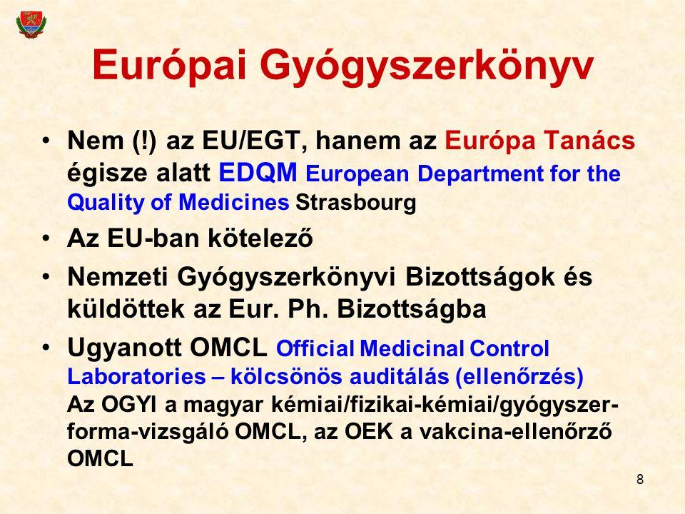 19 Először ismerkedjünk meg egy központi szervvel amelyik a gyógyszerek központi értékelését és egyéb központi ügyeit végzi Európai Gyógyszerügynökség, London European Medicines Agency EMA