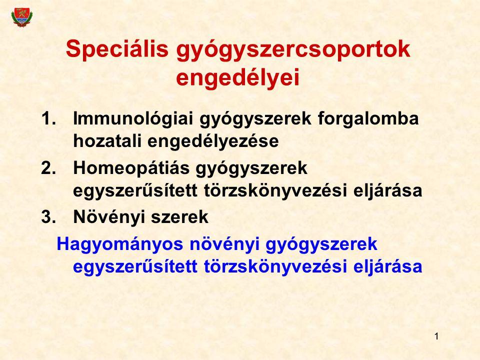 11 Speciális gyógyszercsoportok engedélyei 1.Immunológiai gyógyszerek forgalomba hozatali engedélyezése 2.Homeopátiás gyógyszerek egyszerűsített törzs