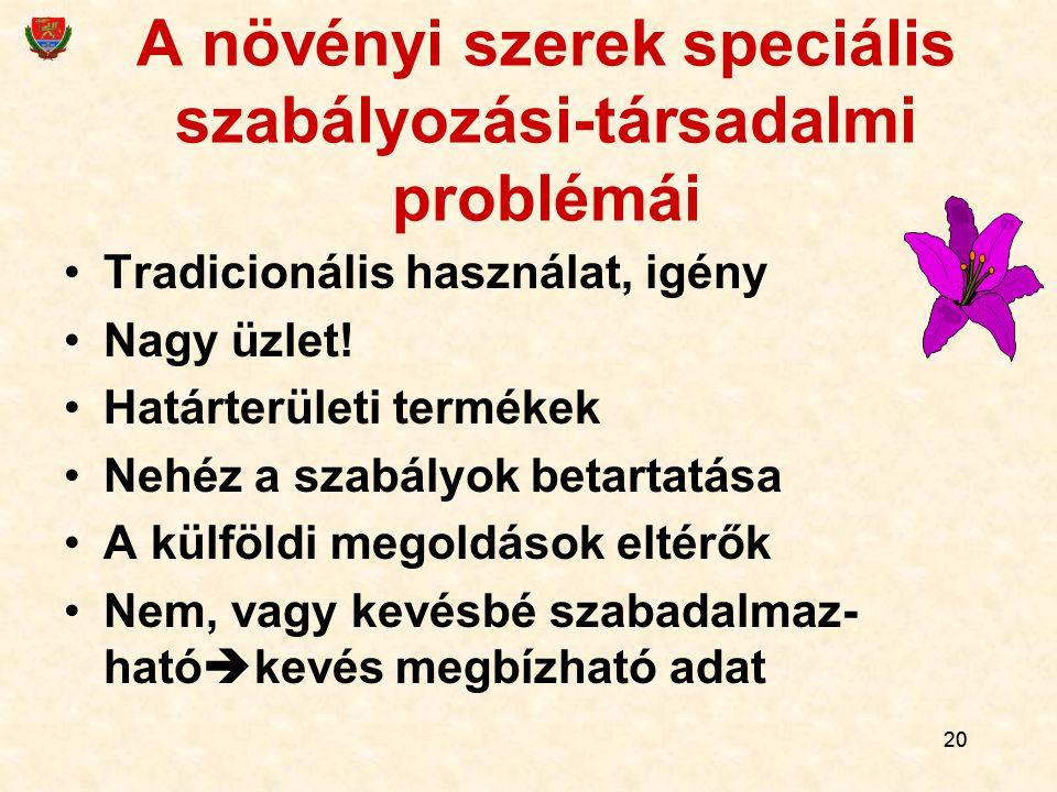20 A növényi szerek speciális szabályozási-társadalmi problémái Tradicionális használat, igény Nagy üzlet! Határterületi termékek Nehéz a szabályok be