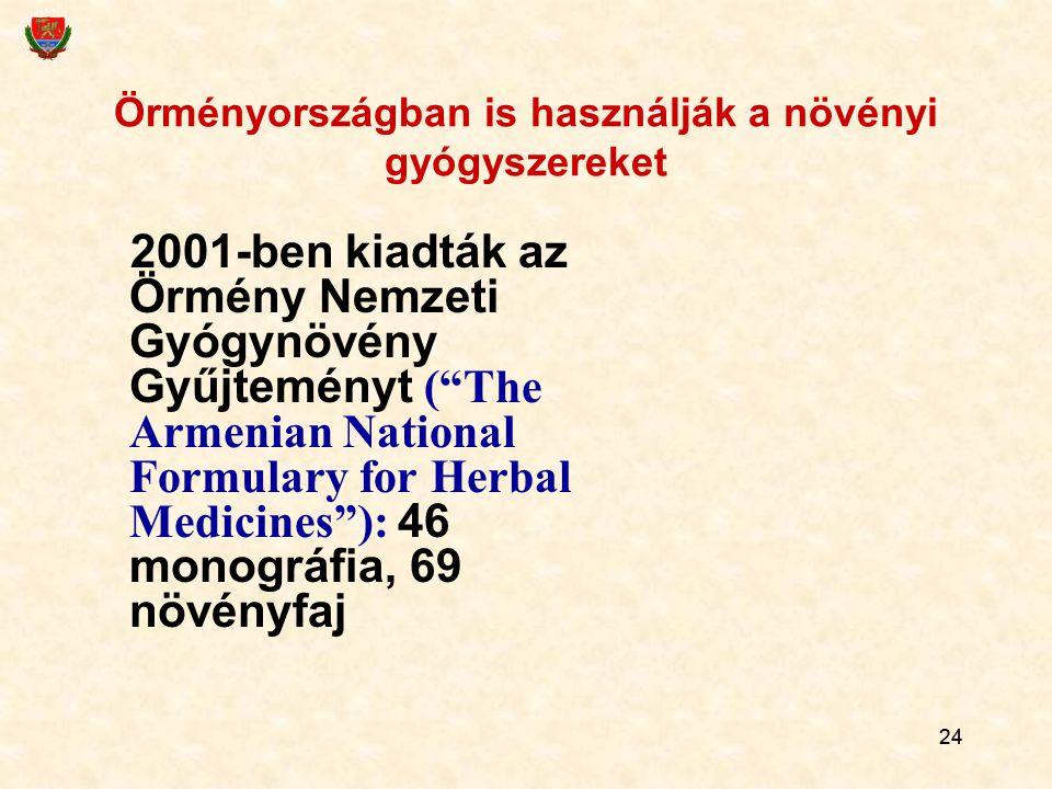 """24 Örményországban is használják a növényi gyógyszereket 2001-ben kiadták az Örmény Nemzeti Gyógynövény Gyűjteményt (""""The Armenian National Formulary"""