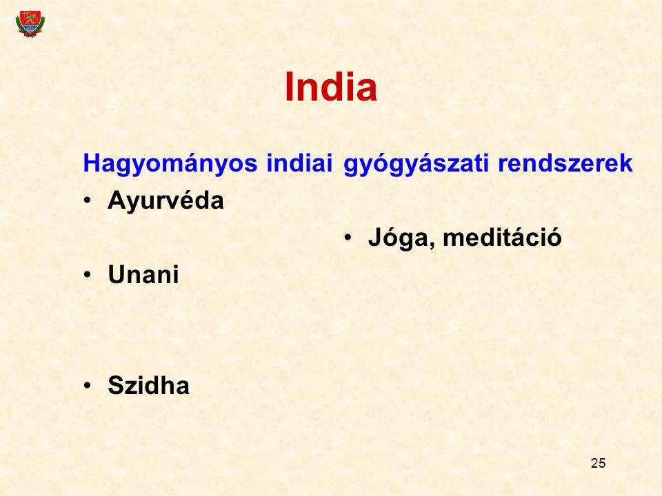 25 India Hagyományos indiai Ayurvéda Unani Szidha gyógyászati rendszerek Jóga, meditáció
