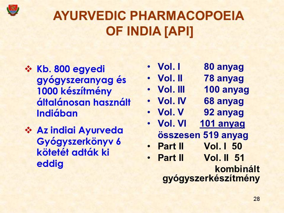 28  Kb. 800 egyedi gyógyszeranyag és 1000 készítmény általánosan használt Indiában  Az indiai Ayurveda Gyógyszerkönyv 6 kötetét adták ki eddig Vol.