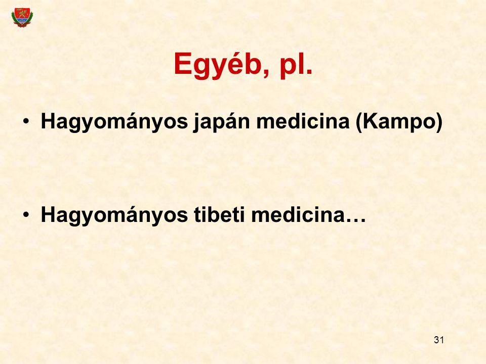 31 Egyéb, pl. Hagyományos japán medicina (Kampo) Hagyományos tibeti medicina…