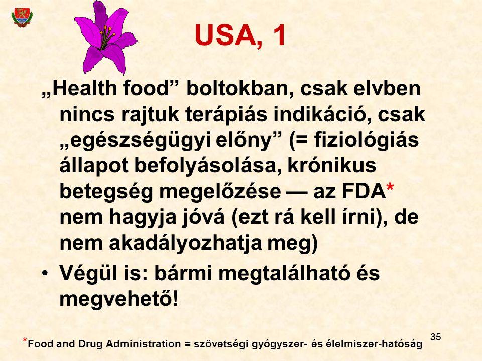 """35 USA, 1 """"Health food"""" boltokban, csak elvben nincs rajtuk terápiás indikáció, csak """"egészségügyi előny"""" (= fiziológiás állapot befolyásolása, krónik"""