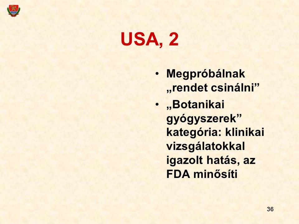 """36 USA, 2 Megpróbálnak """"rendet csinálni"""" """"Botanikai gyógyszerek"""" kategória: klinikai vizsgálatokkal igazolt hatás, az FDA min ő síti"""