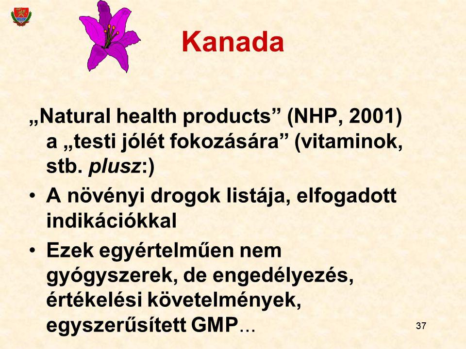 """37 Kanada """"Natural health products"""" (NHP, 2001) a """"testi jólét fokozására"""" (vitaminok, stb. plusz:) A növényi drogok listája, elfogadott indikációkkal"""