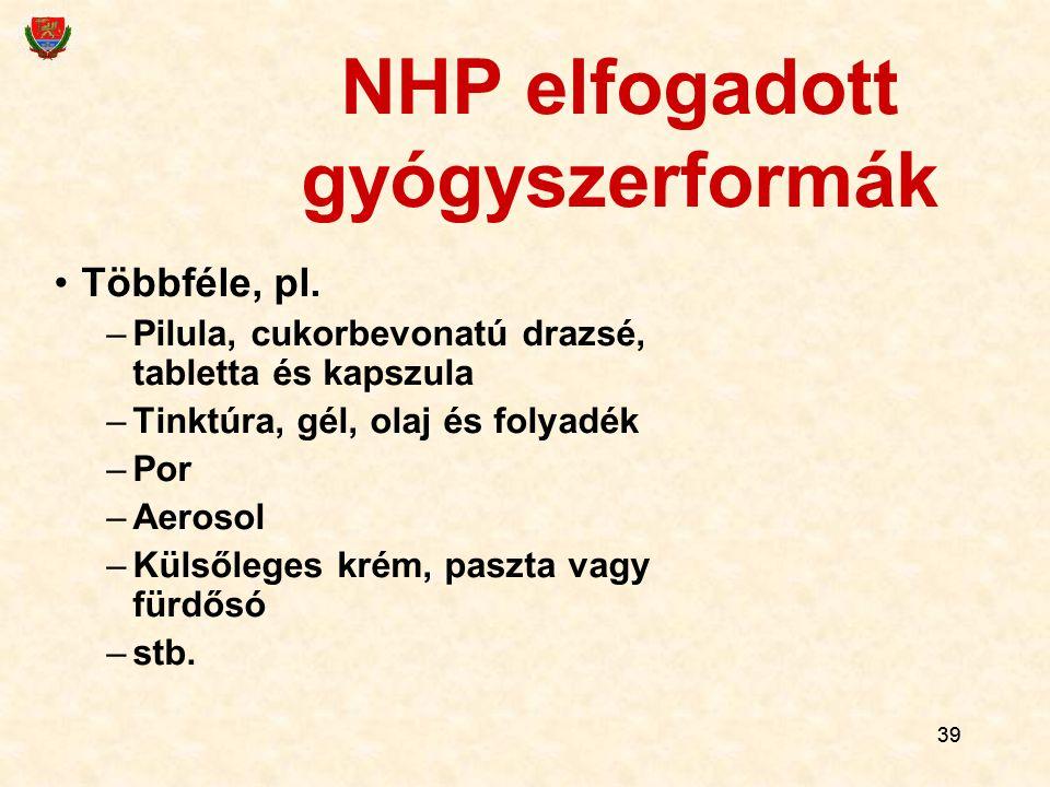 39 NHP elfogadott gyógyszerformák Többféle, pl. –Pilula, cukorbevonatú drazsé, tabletta és kapszula –Tinktúra, gél, olaj és folyadék –Por –Aerosol –Kü