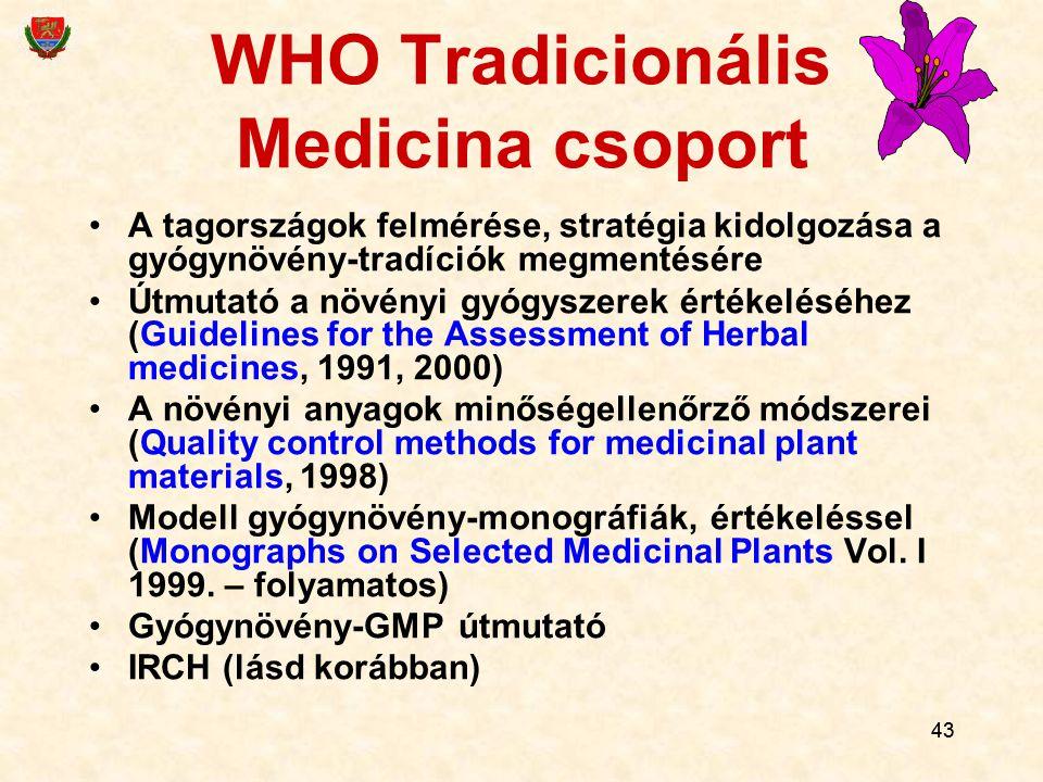 43 WHO Tradicionális Medicina csoport A tagországok felmérése, stratégia kidolgozása a gyógynövény-tradíciók megmentésére Útmutató a növényi gyógyszer