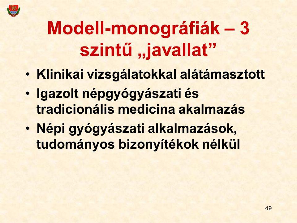 """49 Modell-monográfiák – 3 szintű """"javallat"""" Klinikai vizsgálatokkal alátámasztott Igazolt népgyógyászati és tradicionális medicina akalmazás Népi gyóg"""