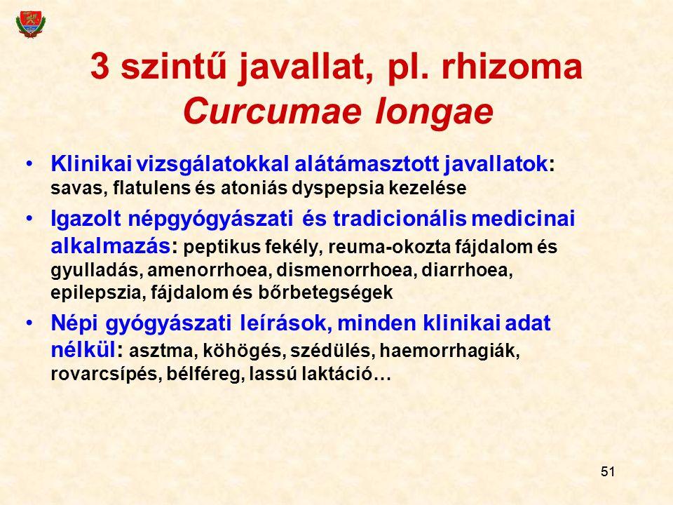 51 3 szintű javallat, pl. rhizoma Curcumae longae Klinikai vizsgálatokkal alátámasztott javallatok: savas, flatulens és atoniás dyspepsia kezelése Iga
