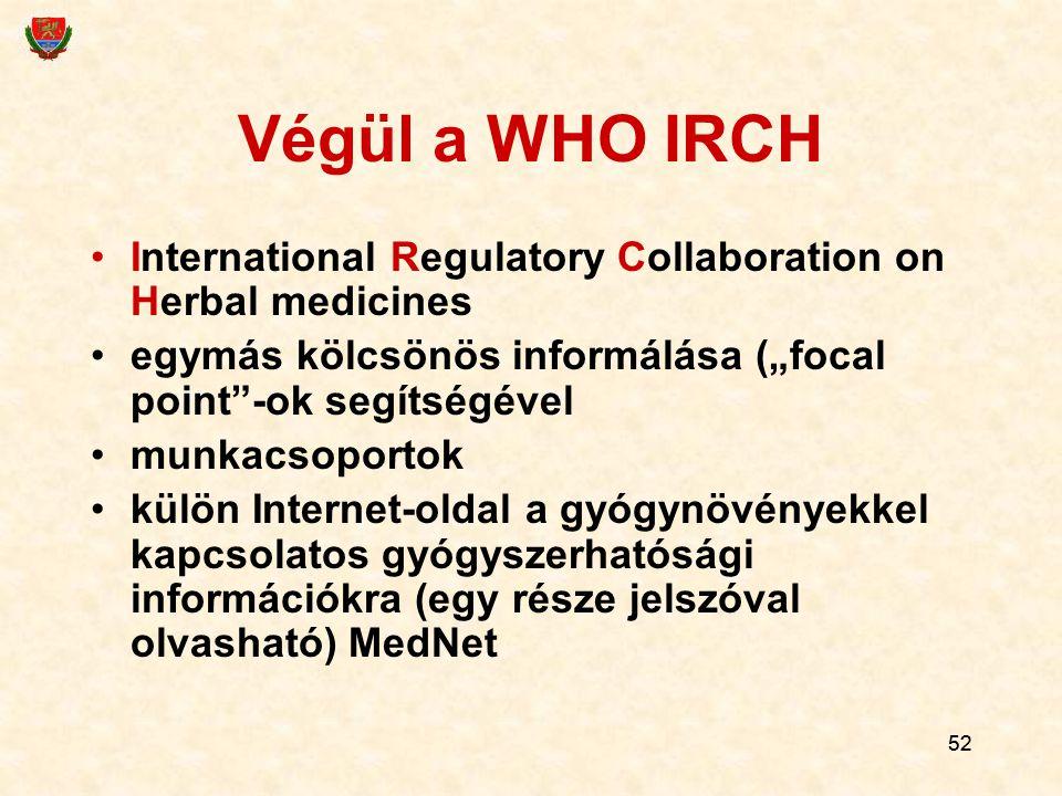 """52 Végül a WHO IRCH International Regulatory Collaboration on Herbal medicines egymás kölcsönös informálása (""""focal point""""-ok segítségével munkacsopor"""
