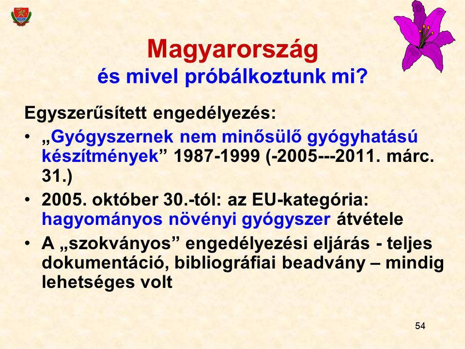 """54 Magyarország és mivel próbálkoztunk mi? Egyszerűsített engedélyezés: """"Gyógyszernek nem minősülő gyógyhatású készítmények"""" 1987-1999 (-2005---2011."""