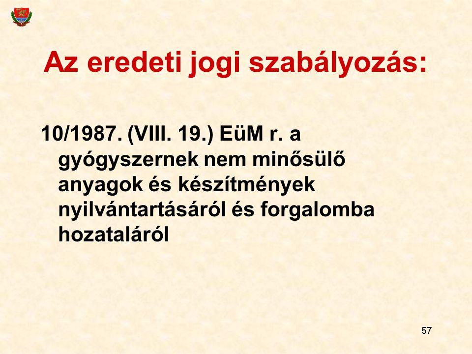57 Az eredeti jogi szabályozás: 10/1987. (VIII. 19.) EüM r. a gyógyszernek nem minősülő anyagok és készítmények nyilvántartásáról és forgalomba hozata