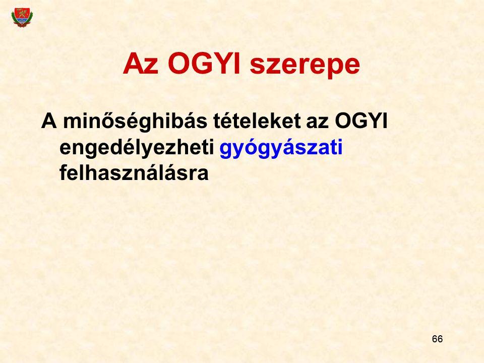 66 Az OGYI szerepe A minőséghibás tételeket az OGYI engedélyezheti gyógyászati felhasználásra