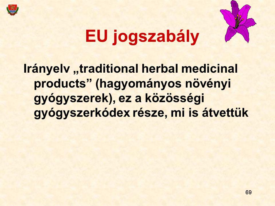 """69 EU jogszabály Irányelv """"traditional herbal medicinal products"""" (hagyományos növényi gyógyszerek), ez a közösségi gyógyszerkódex része, mi is átvett"""