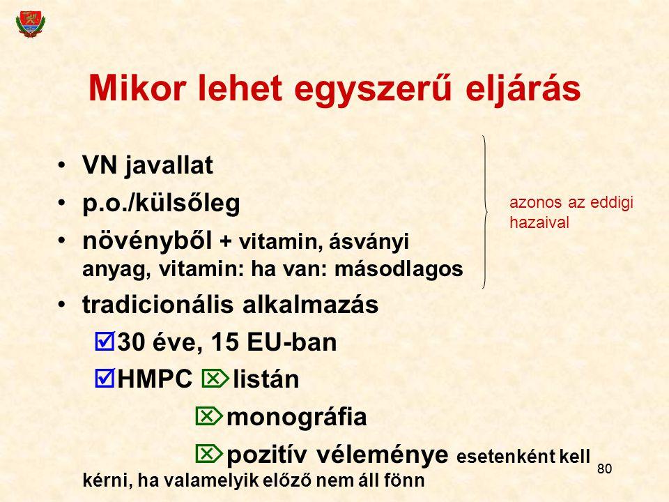 80 Mikor lehet egyszerű eljárás VN javallat p.o./külsőleg növényből + vitamin, ásványi anyag, vitamin: ha van: másodlagos tradicionális alkalmazás  3