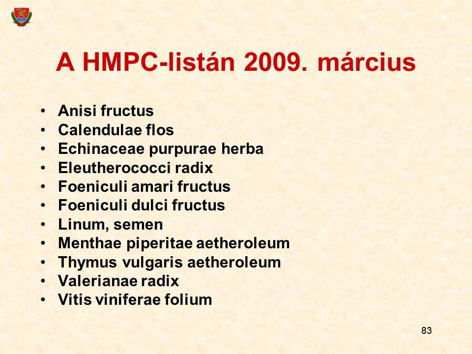 83 A HMPC-listán 2009. március Anisi fructus Calendulae flos Echinaceae purpurae herba Eleutherococci radix Foeniculi amari fructus Foeniculi dulci fr