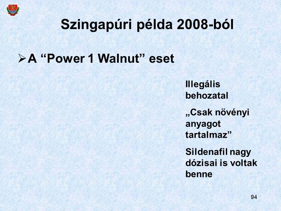 """94  A """"Power 1 Walnut"""" eset Szingapúri példa 2008-ból Illegális behozatal """"Csak növényi anyagot tartalmaz"""" Sildenafil nagy dózisai is voltak benne"""