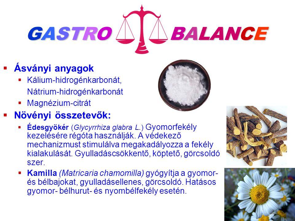   Ásványi anyagok   Kálium-hidrogénkarbonát, Nátrium-hidrogénkarbonát   Magnézium-citrát   Növényi összetevők:   Édesgyökér (Glycyrrhiza gla