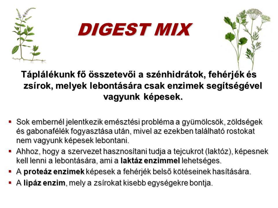 DIGEST MIX Táplálékunk fő összetevői a szénhidrátok, fehérjék és zsírok, melyek lebontására csak enzimek segítségével vagyunk képesek.  Sok embernél