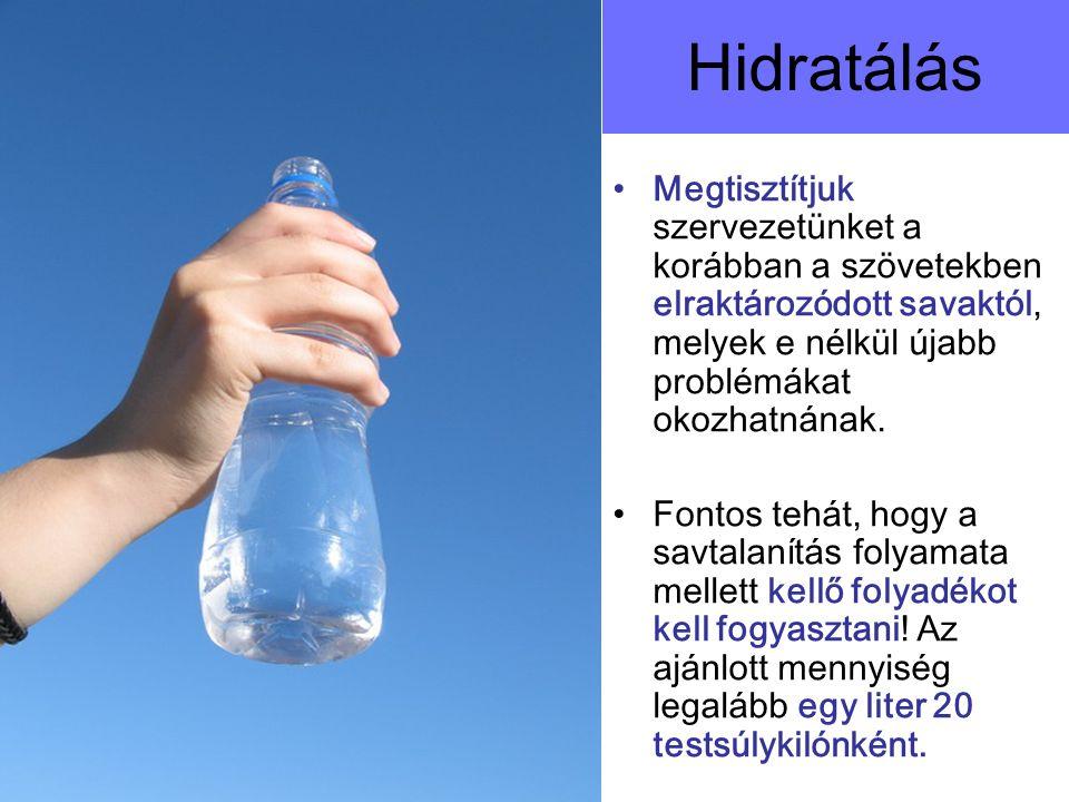 Hidratálás Megtisztítjuk szervezetünket a korábban a szövetekben elraktározódott savaktól, melyek e nélkül újabb problémákat okozhatnának. Fontos tehá