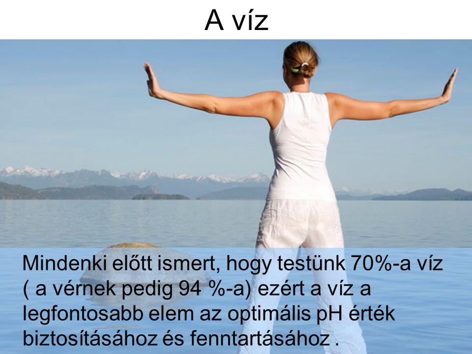 A víz Mindenki előtt ismert, hogy testünk 70%-a víz ( a vérnek pedig 94 %-a) ezért a víz a legfontosabb elem az optimális pH érték biztosításához és f