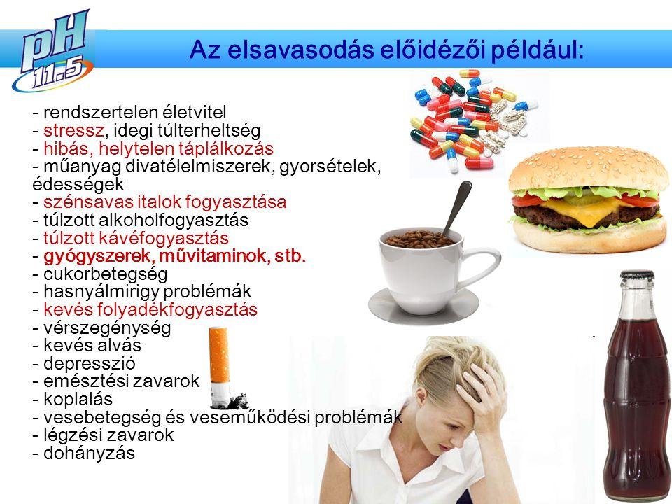 - rendszertelen életvitel - stressz, idegi túlterheltség - hibás, helytelen táplálkozás - műanyag divatélelmiszerek, gyorsételek, édességek - szénsava