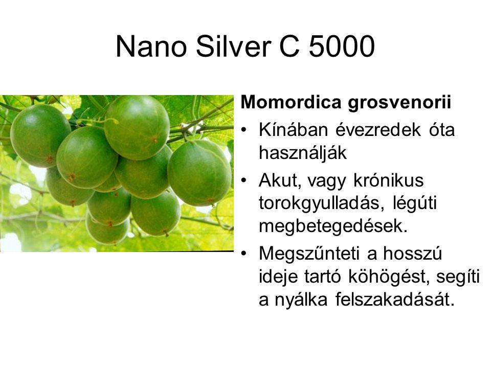 Nano Silver C 5000 Momordica grosvenorii Kínában évezredek óta használják Akut, vagy krónikus torokgyulladás, légúti megbetegedések.