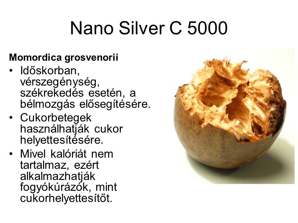 Nano Silver C 5000 Momordica grosvenorii Időskorban, vérszegénység, székrekedés esetén, a bélmozgás elősegítésére.