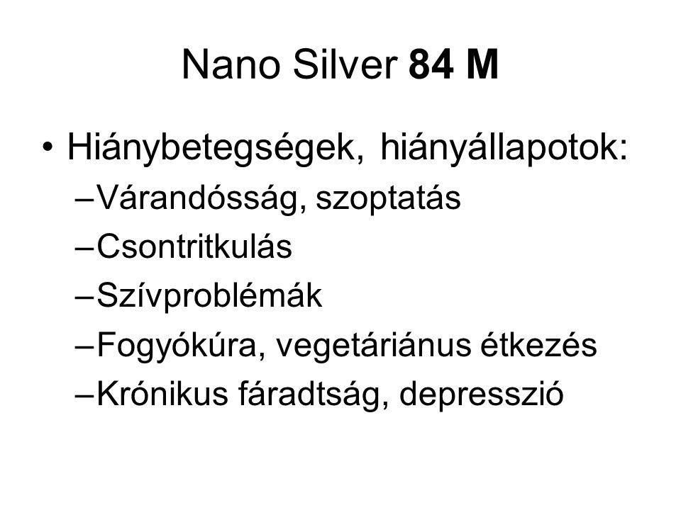 Nano Silver 84 M Hiánybetegségek, hiányállapotok: –Várandósság, szoptatás –Csontritkulás –Szívproblémák –Fogyókúra, vegetáriánus étkezés –Krónikus fáradtság, depresszió