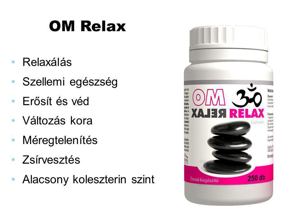 OM Relax Relaxálás Szellemi egészség Erősít és véd Változás kora Méregtelenítés Zsírvesztés Alacsony koleszterin szint