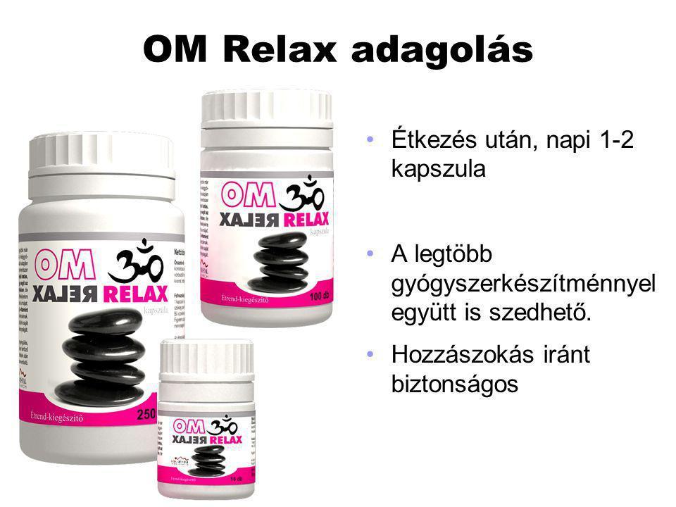 OM Relax adagolás Étkezés után, napi 1-2 kapszula A legtöbb gyógyszerkészítménnyel együtt is szedhető. Hozzászokás iránt biztonságos