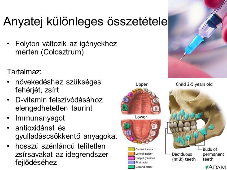 Anyatej különleges összetétele Folyton változik az igényekhez mérten (Colosztrum) Tartalmaz: növekedéshez szükséges fehérjét, zsírt D-vitamin felszívódásához elengedhetetlen taurint Immunanyagot antioxidánst és gyulladáscsökkentő anyagokat hosszú szénláncú telítetlen zsírsavakat az idegrendszer fejlődéséhez