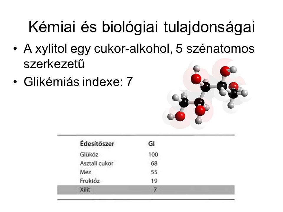 Kémiai és biológiai tulajdonságai A xylitol egy cukor-alkohol, 5 szénatomos szerkezetű Glikémiás indexe: 7