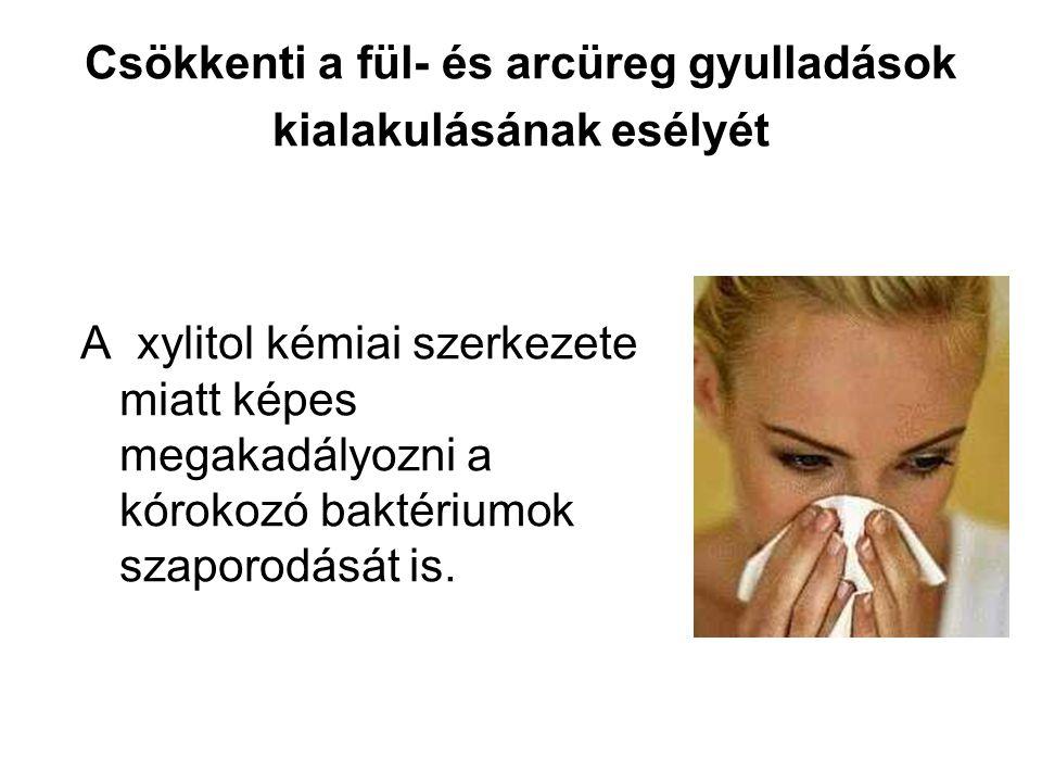 Csökkenti a fül- és arcüreg gyulladások kialakulásának esélyét A xylitol kémiai szerkezete miatt képes megakadályozni a kórokozó baktériumok szaporodását is.