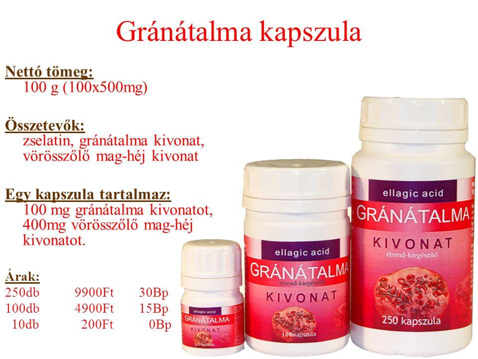 Gránátalma kapszula Nettó tömeg: 100 g (100x500mg) Összetevők: zselatin, gránátalma kivonat, vörösszőlő mag-héj kivonat Egy kapszula tartalmaz: 100 mg gránátalma kivonatot, 400mg vörösszőlő mag-héj kivonatot.