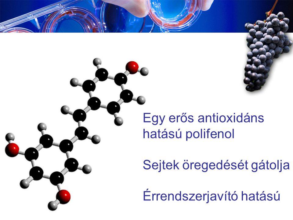 Egy erős antioxidáns hatású polifenol Sejtek öregedését gátolja Érrendszerjavító hatású