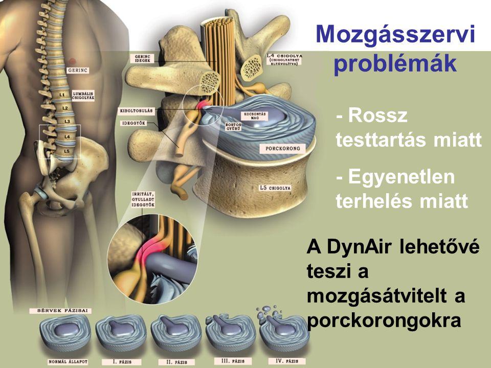 - Rossz testtartás miatt - Egyenetlen terhelés miatt Mozgásszervi problémák A DynAir lehetővé teszi a mozgásátvitelt a porckorongokra